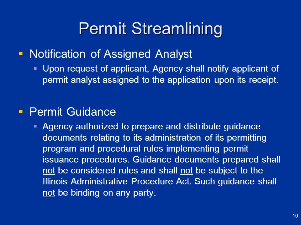 Permit Streamlining Notification of Assigned Analyst Permit Guidance