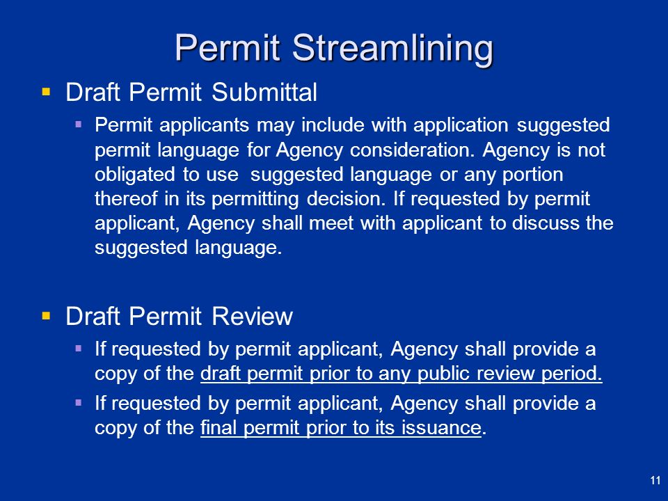 Permit Streamlining Draft Permit Submittal Draft Permit Review