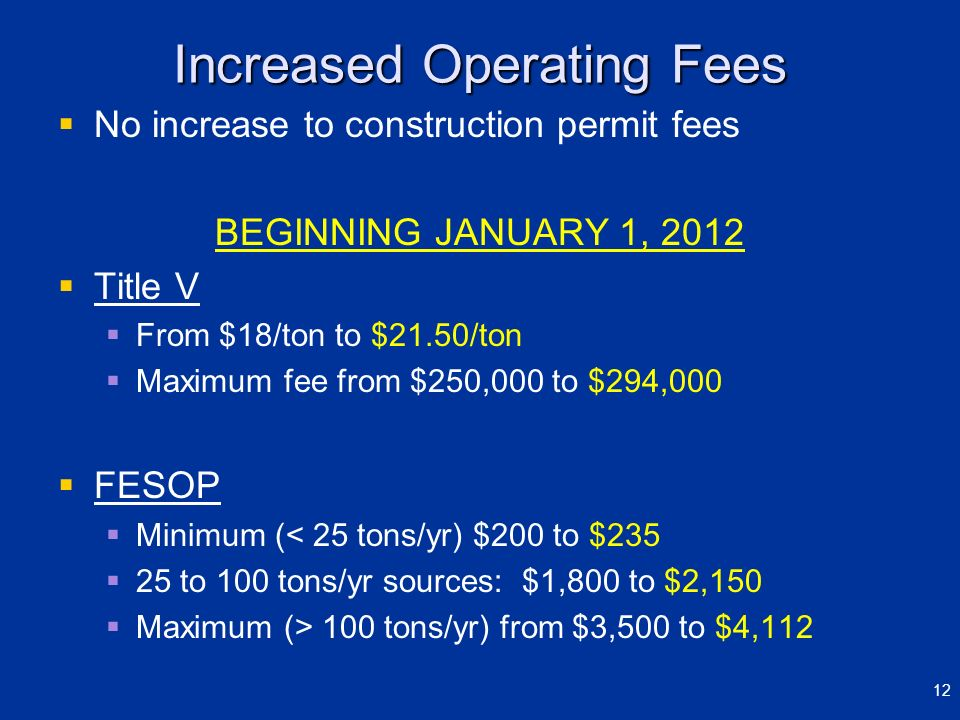 Increased Operating Fees