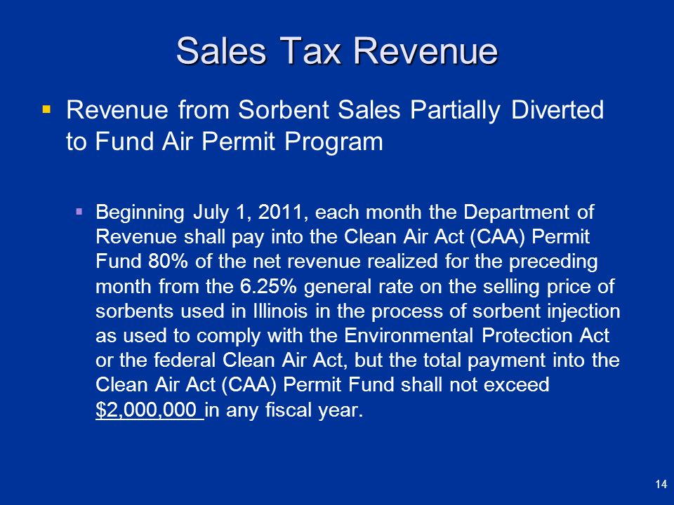 March 29, 2012 Sales Tax Revenue. Revenue from Sorbent Sales Partially Diverted to Fund Air Permit Program.