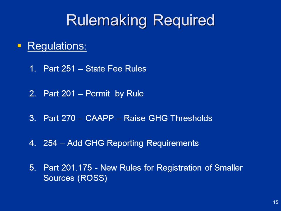 Rulemaking Required Regulations: Part 251 – State Fee Rules