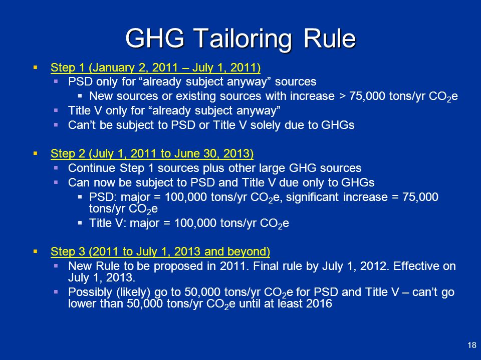 GHG Tailoring Rule Step 1 (January 2, 2011 – July 1, 2011)