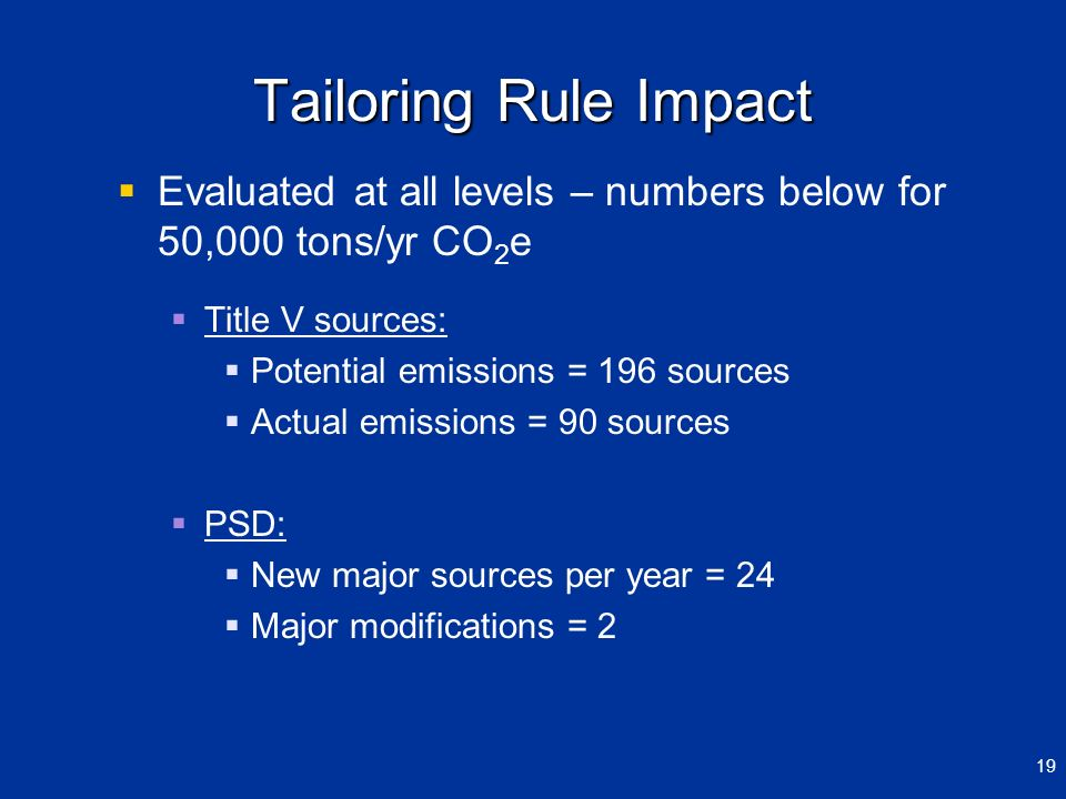 March 29, 2012 Tailoring Rule Impact. Evaluated at all levels – numbers below for 50,000 tons/yr CO2e.
