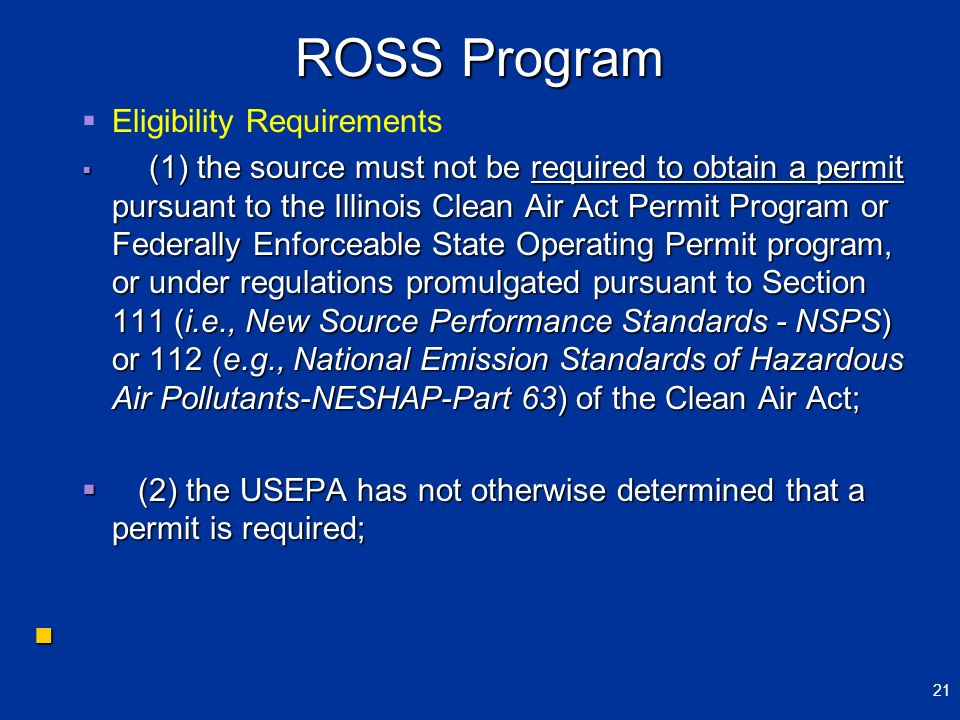 ROSS Program Eligibility Requirements
