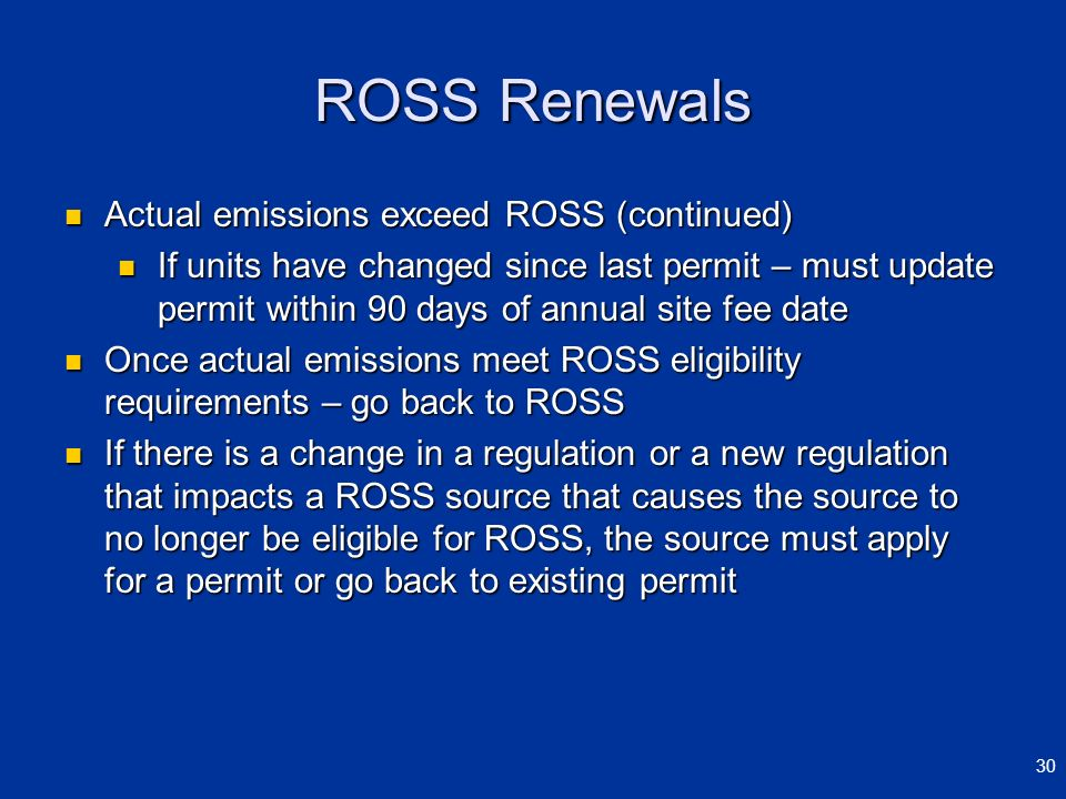 ROSS Renewals Actual emissions exceed ROSS (continued)