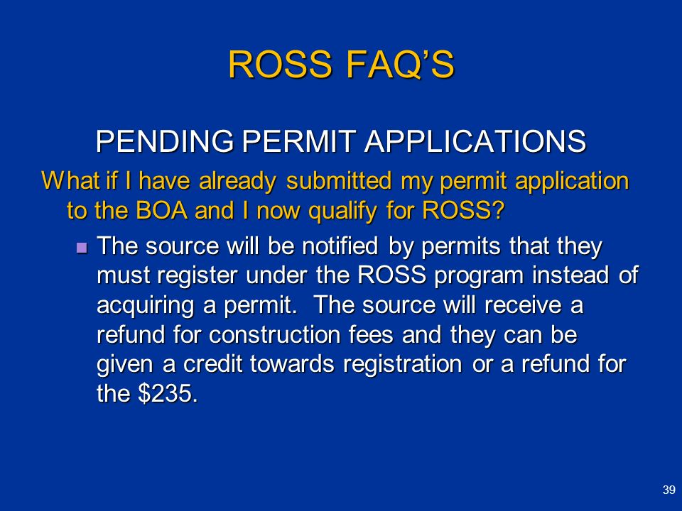 PENDING PERMIT APPLICATIONS