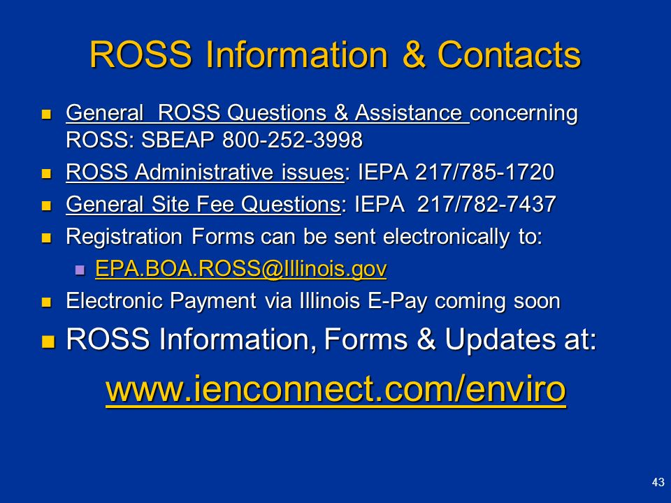 ROSS Information & Contacts