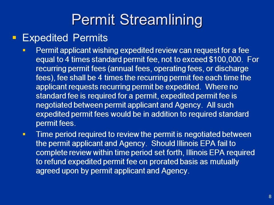 Permit Streamlining Expedited Permits