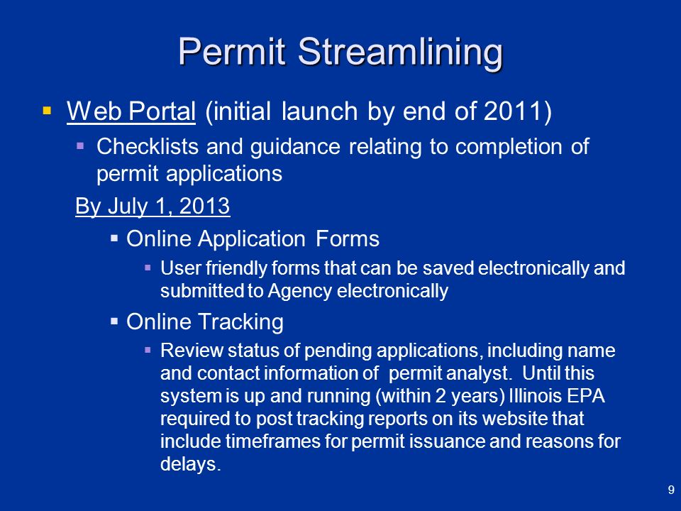 Permit Streamlining Web Portal (initial launch by end of 2011)
