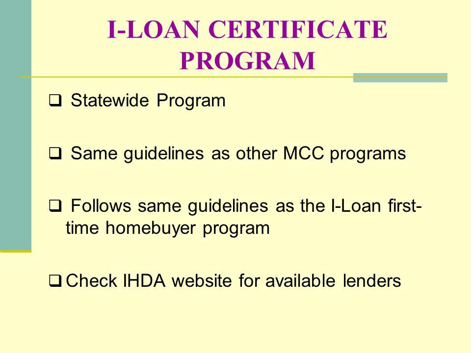 I-LOAN CERTIFICATE PROGRAM