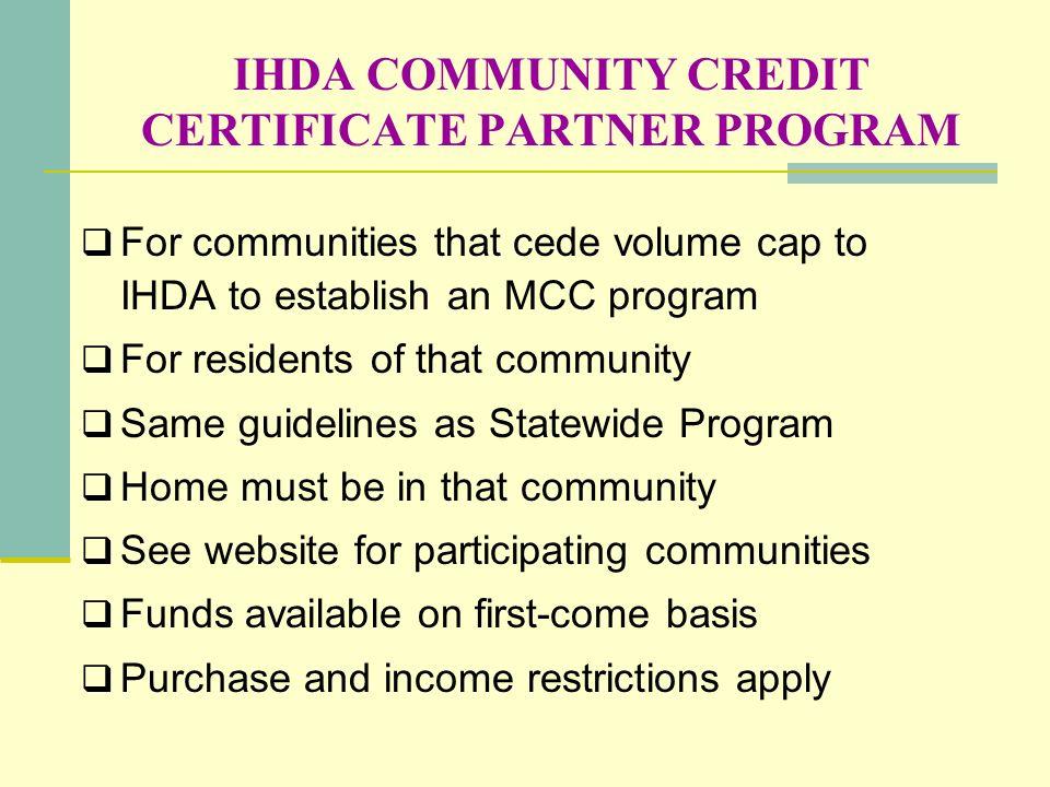 IHDA COMMUNITY CREDIT CERTIFICATE PARTNER PROGRAM