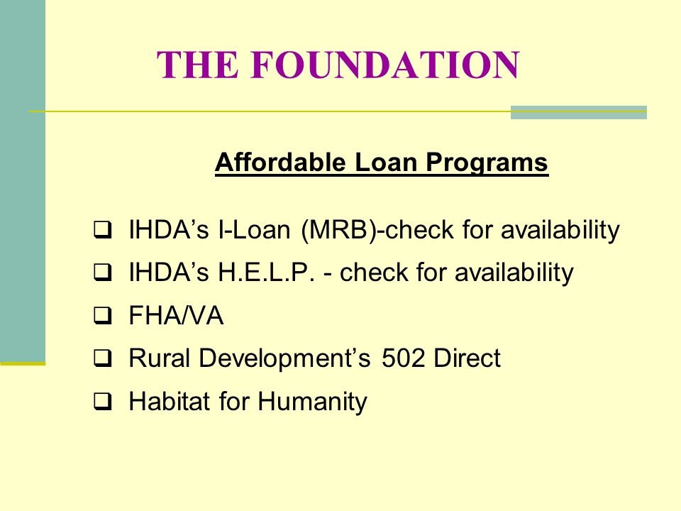 Affordable Loan Programs