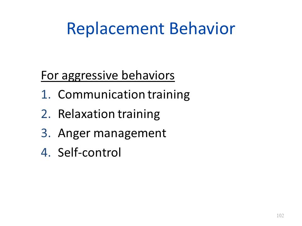 Replacement Behavior For aggressive behaviors Communication training
