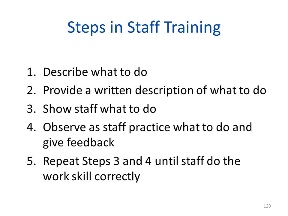 Steps in Staff Training