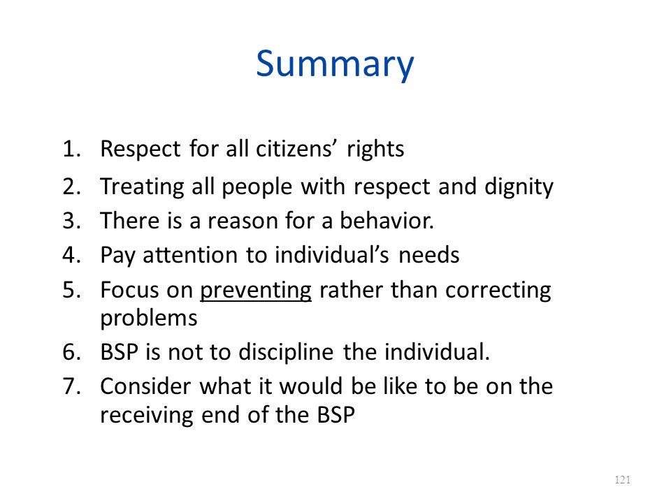 Summary Respect for all citizens' rights