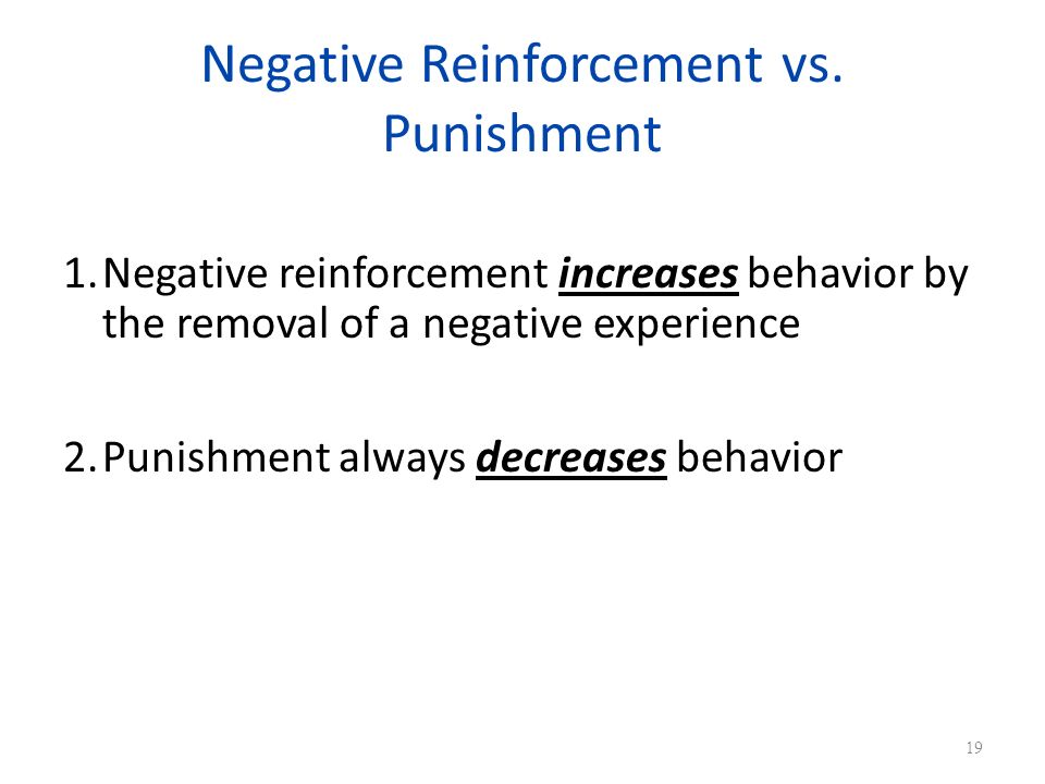 Negative Reinforcement vs. Punishment
