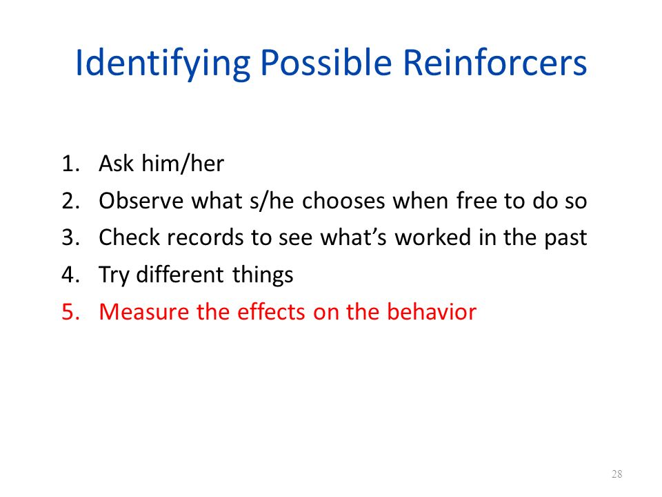 Identifying Possible Reinforcers