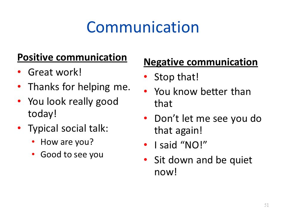 Communication Positive communication Negative communication
