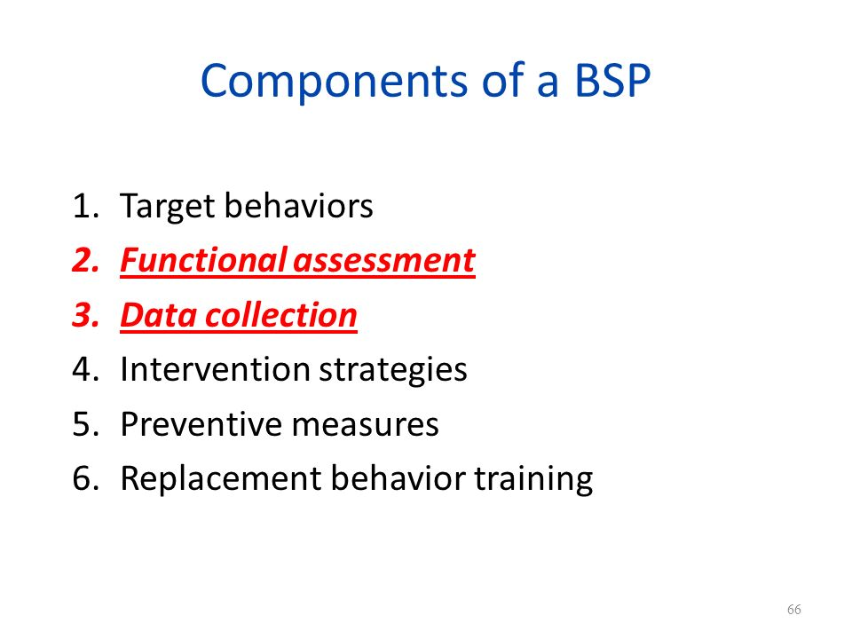 Components of a BSP Target behaviors Functional assessment