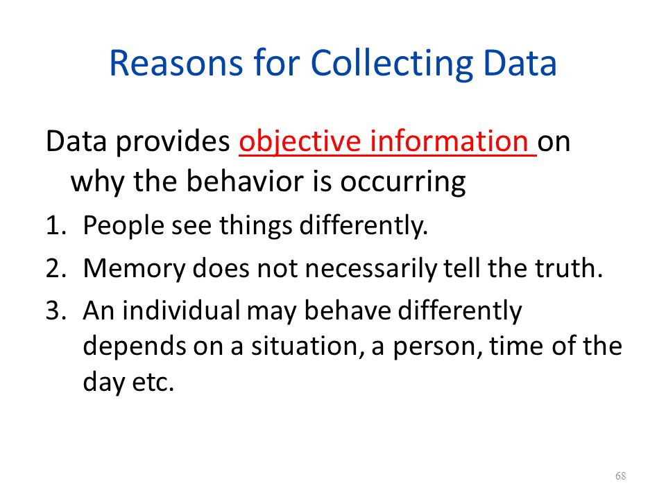 Reasons for Collecting Data
