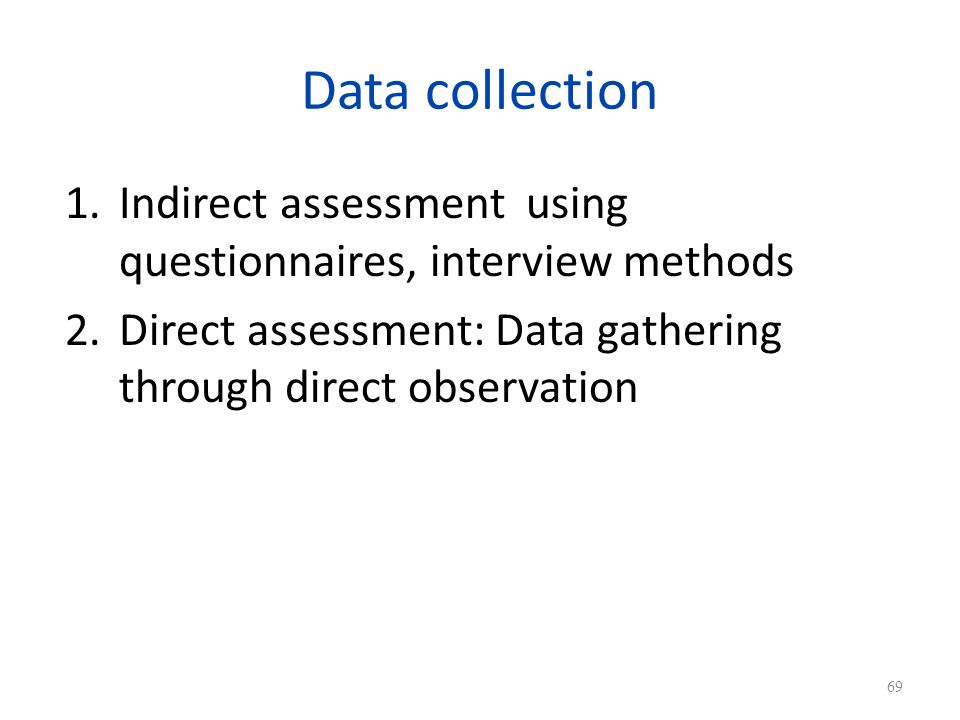Data collection Indirect assessment using questionnaires, interview methods.