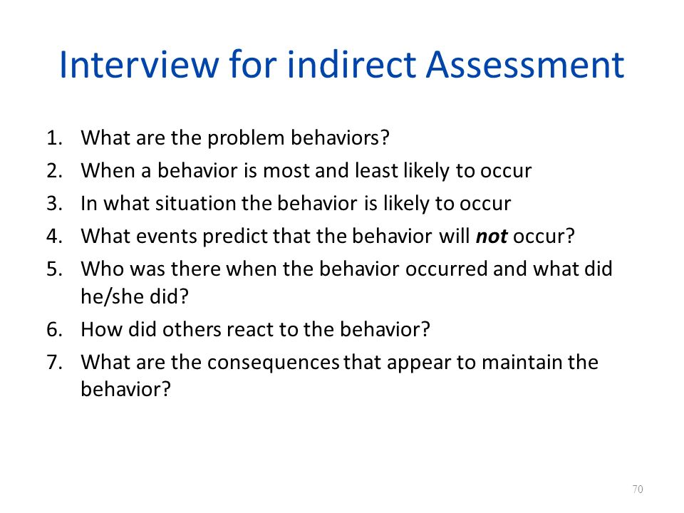 Interview for indirect Assessment