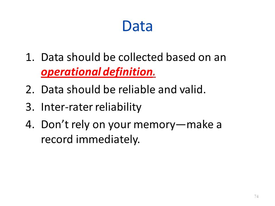Data Data should be collected based on an operational definition.