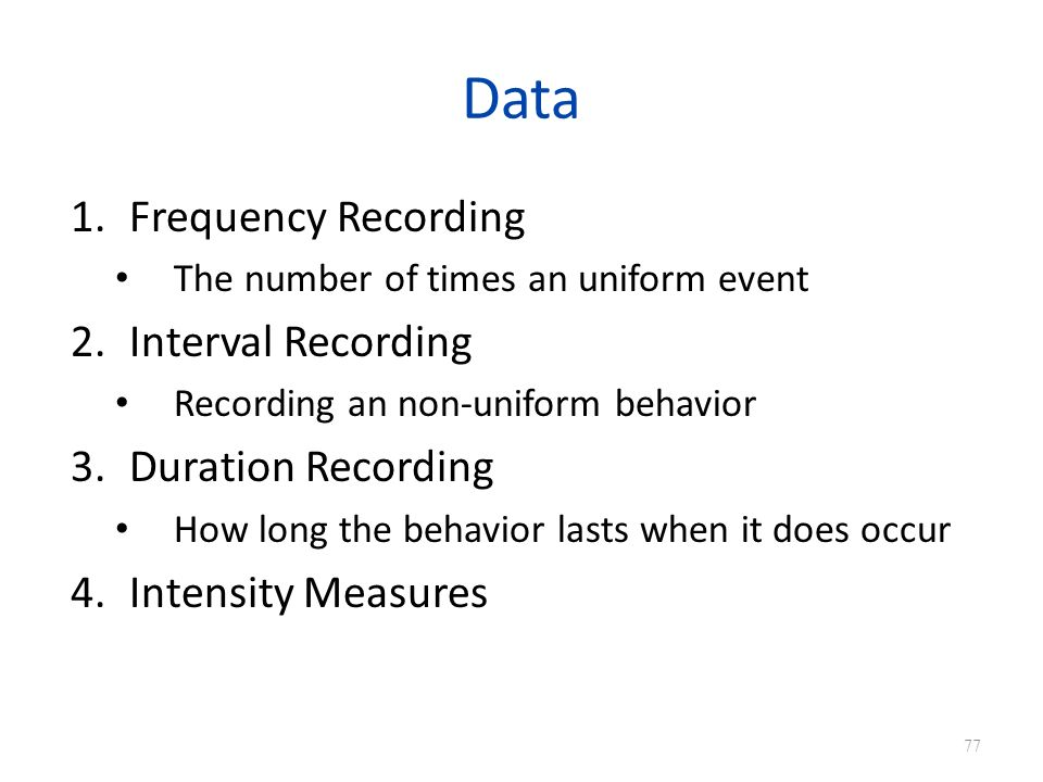 Data Frequency Recording Interval Recording Duration Recording