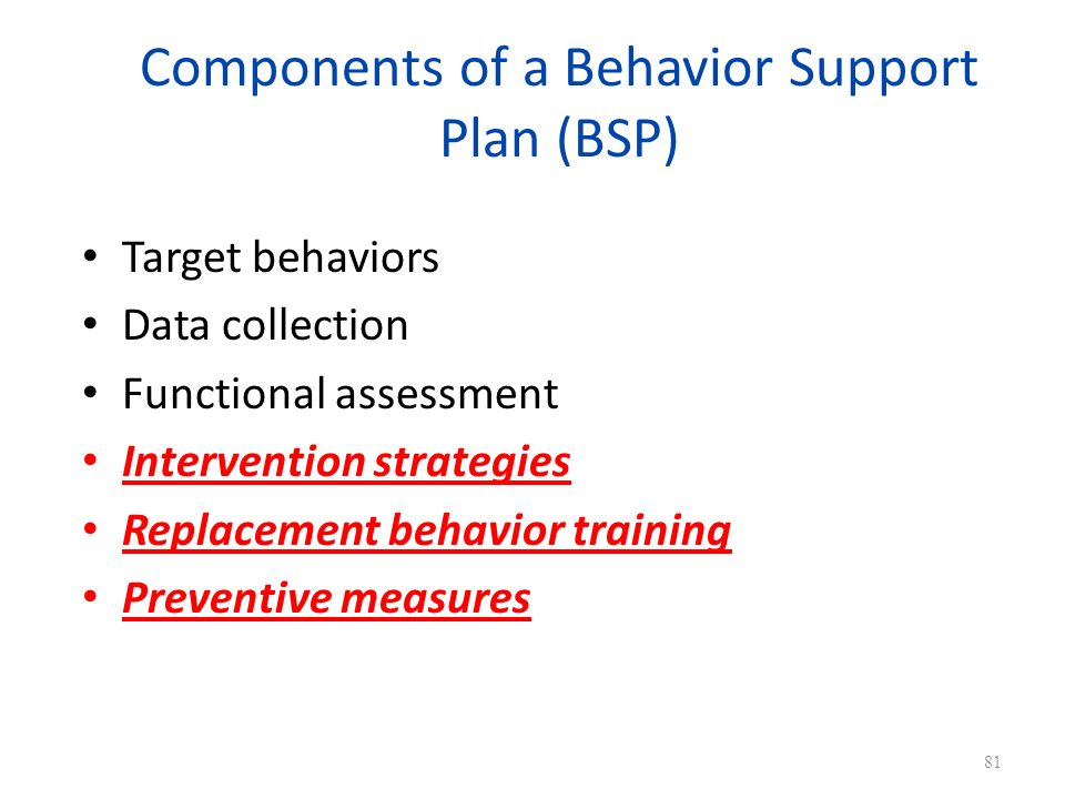 Components of a Behavior Support Plan (BSP)