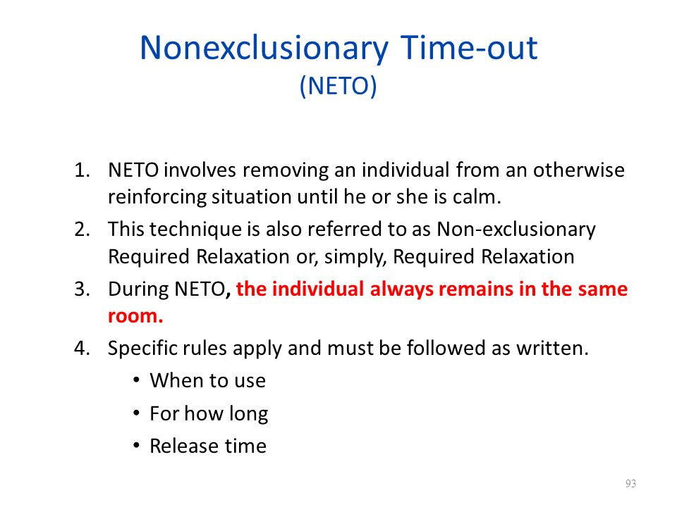 Nonexclusionary Time-out (NETO)