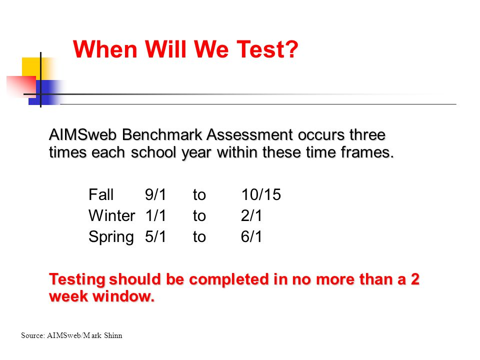 When Will We Test AIMSweb Benchmark Assessment occurs three times each school year within these time frames.