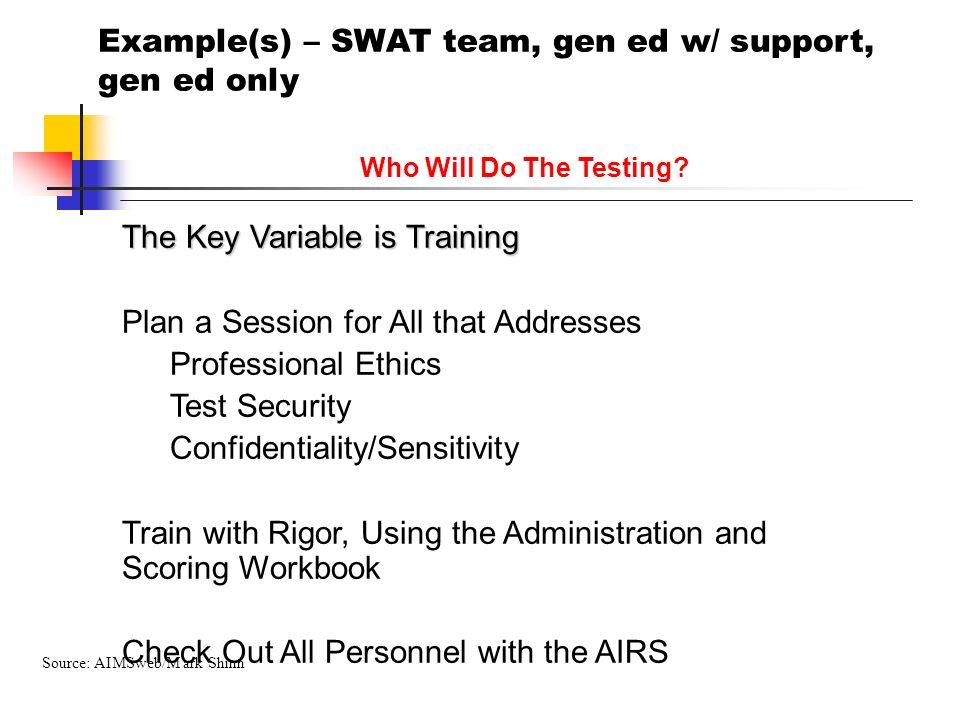 Example(s) – SWAT team, gen ed w/ support, gen ed only