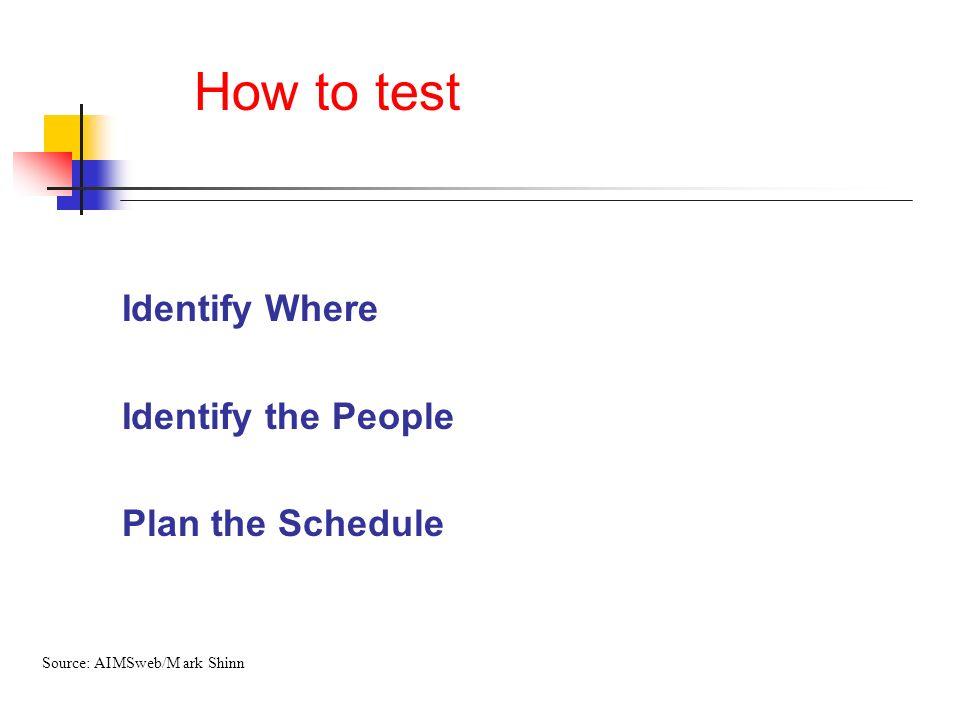 How to test Identify Where Identify the People Plan the Schedule