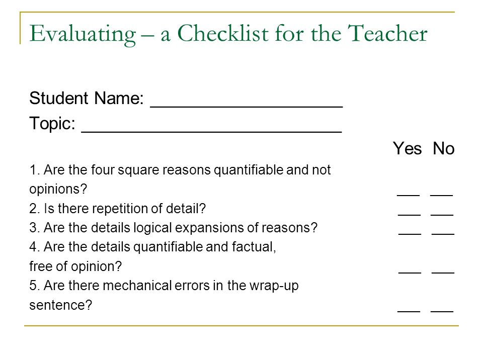 checklist evaluating thesis