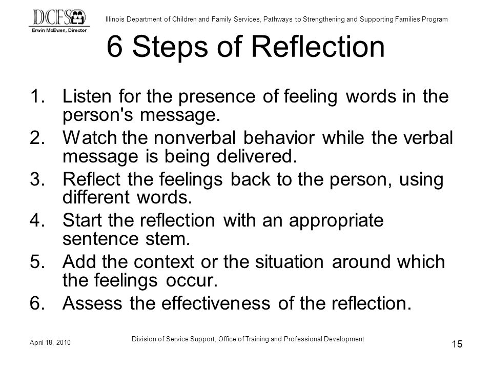 6 Steps of Reflection Listen for the presence of feeling words in the person s message.