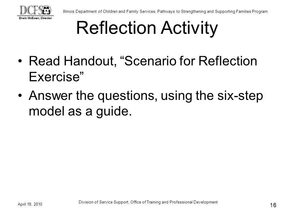 Reflection Activity Read Handout, Scenario for Reflection Exercise