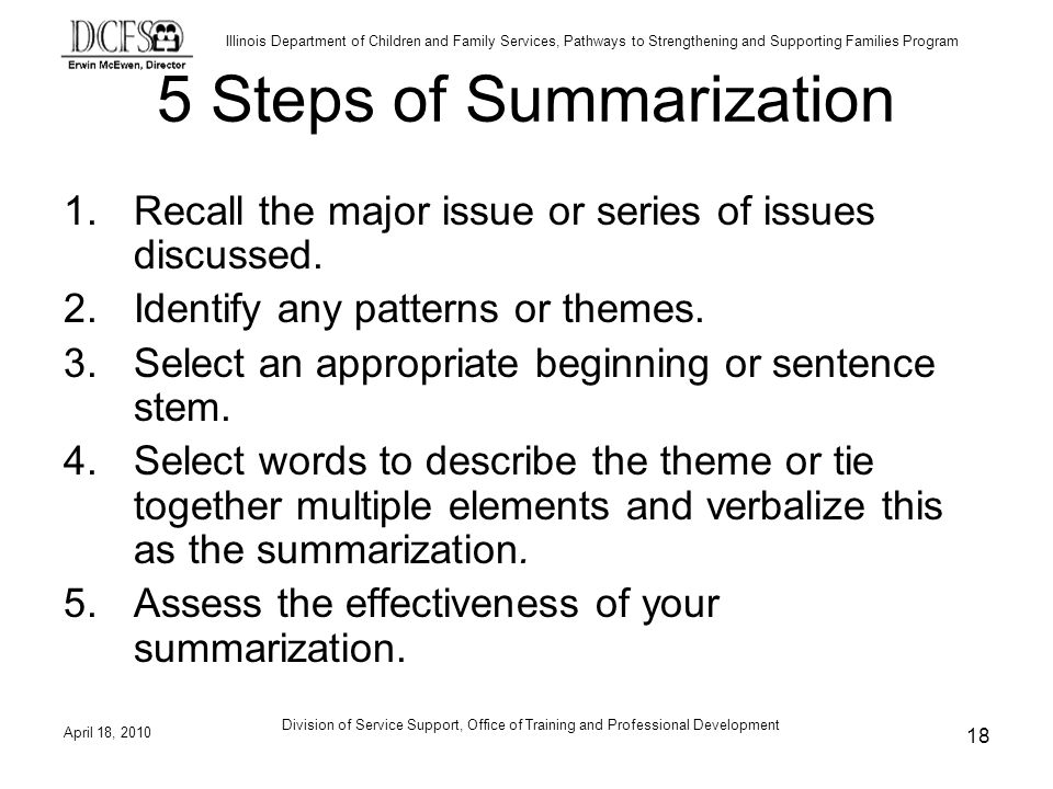 5 Steps of Summarization