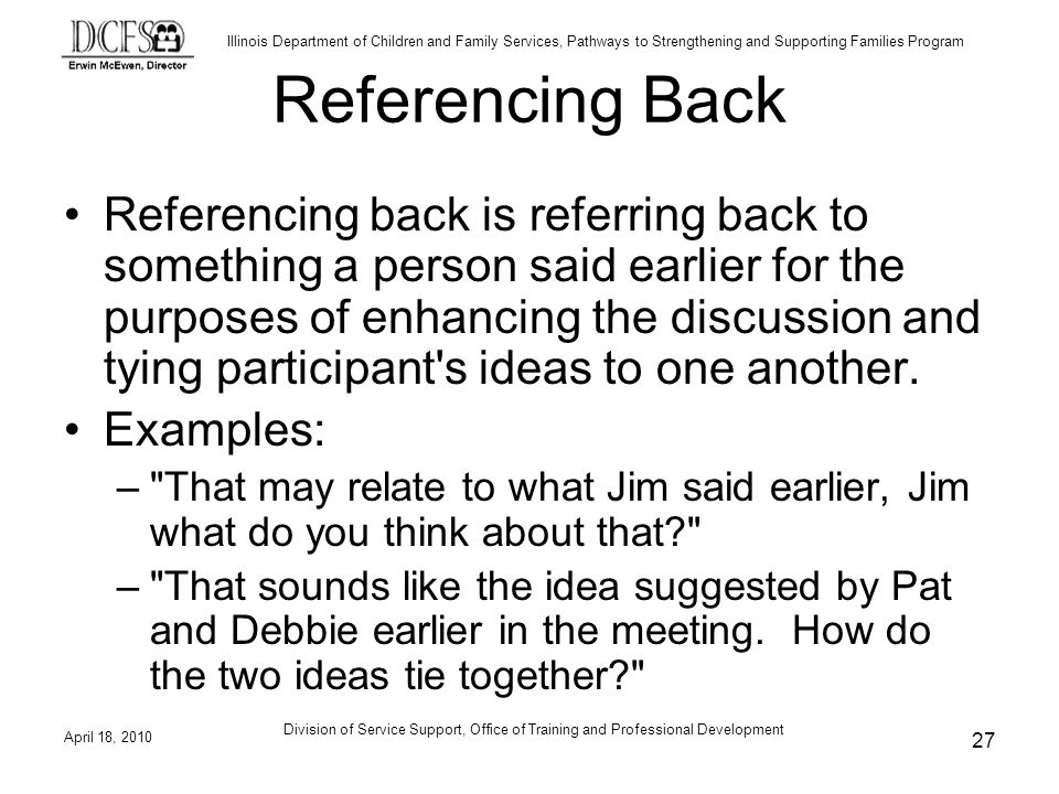 Referencing Back