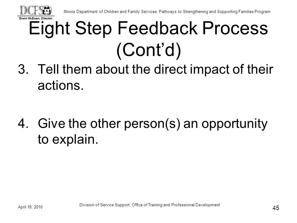 Eight Step Feedback Process (Cont'd)