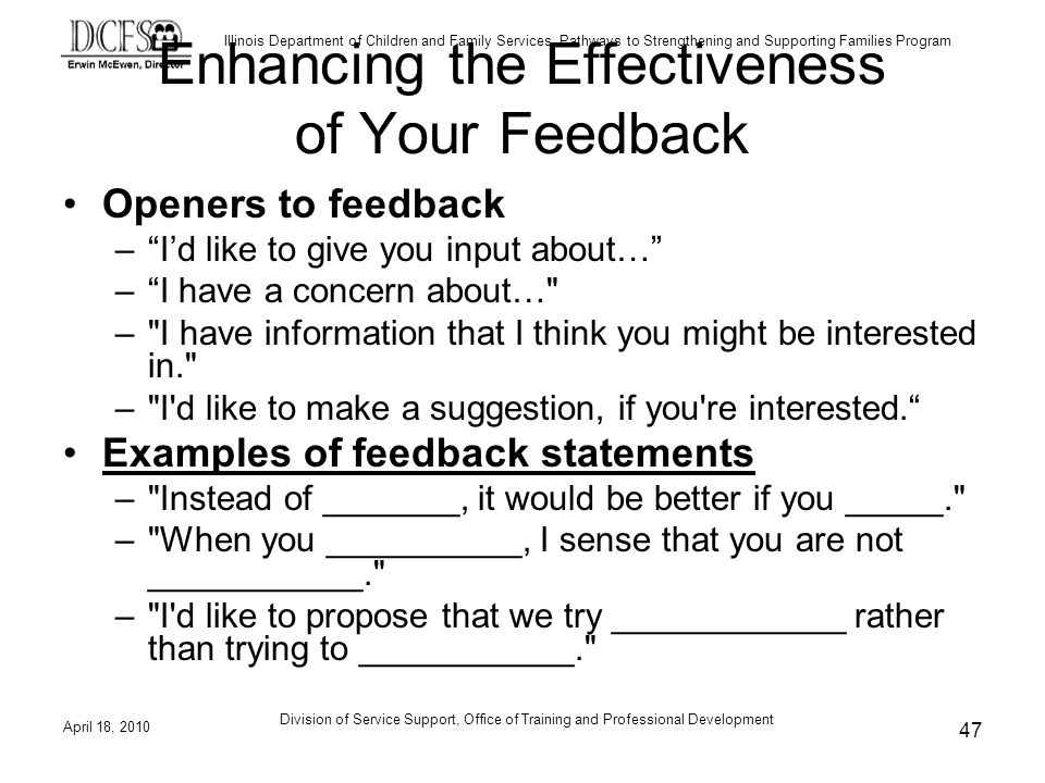 Enhancing the Effectiveness of Your Feedback