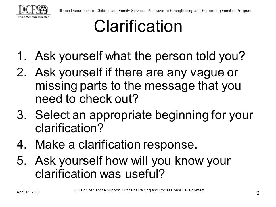 Clarification Ask yourself what the person told you