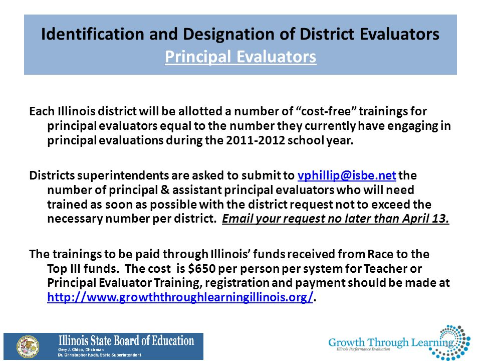 Identification and Designation of District Evaluators Principal Evaluators