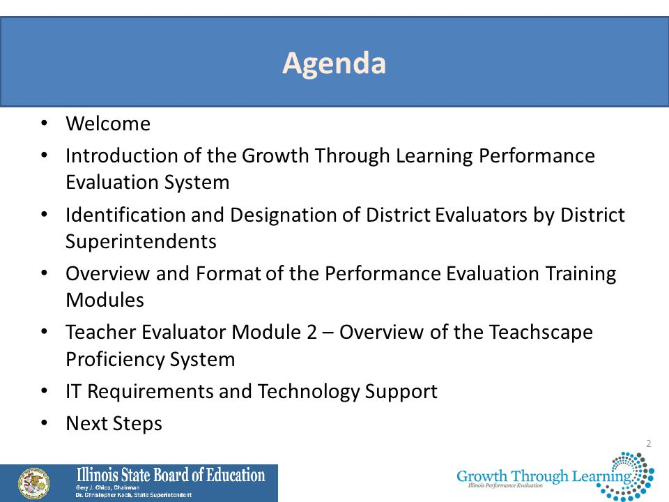 Agenda Welcome. Introduction of the Growth Through Learning Performance Evaluation System.