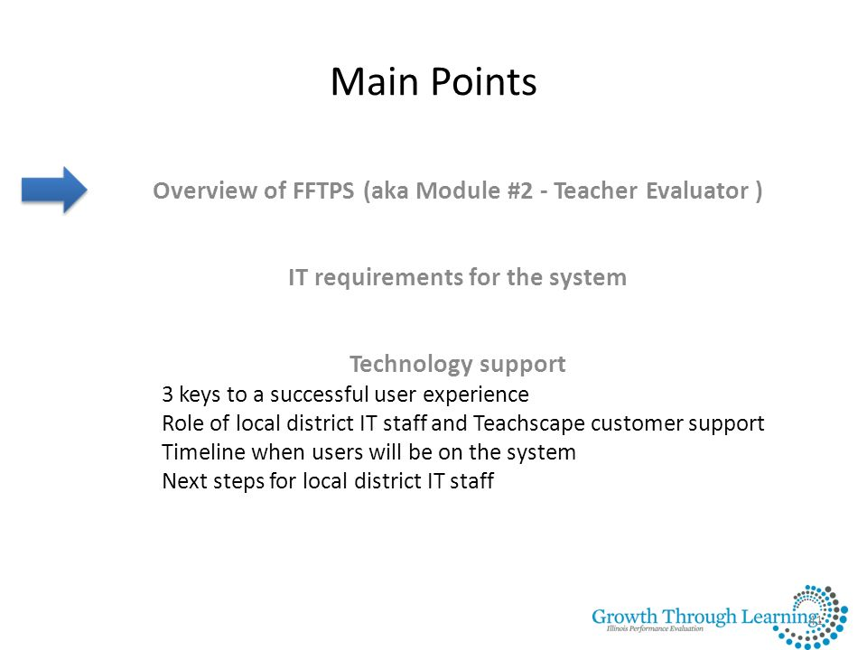 Main Points Overview of FFTPS (aka Module #2 - Teacher Evaluator )