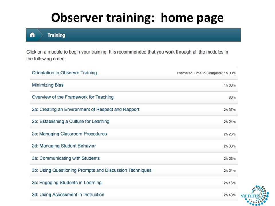 Observer training: home page