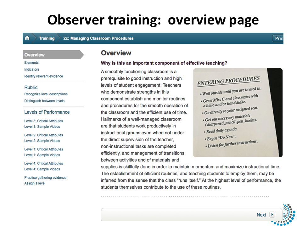 Observer training: overview page