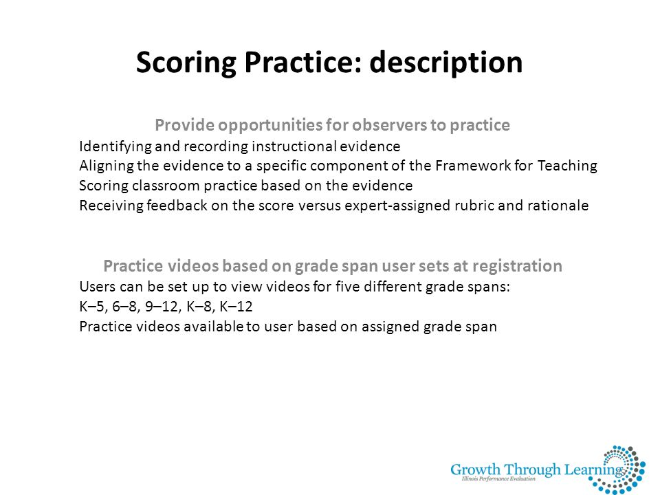 Scoring Practice: description