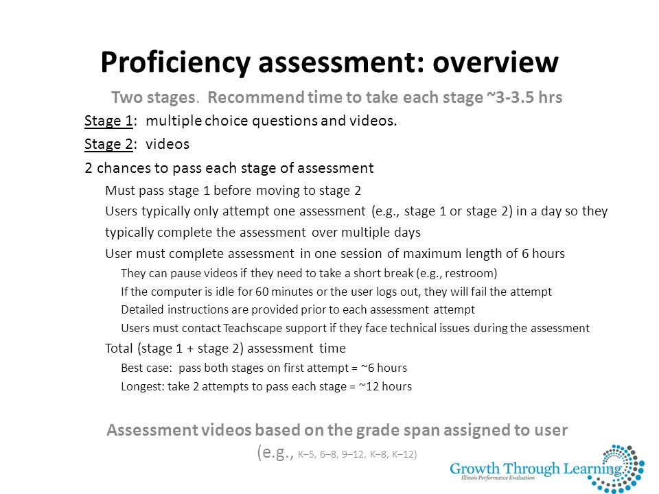 Proficiency assessment: overview