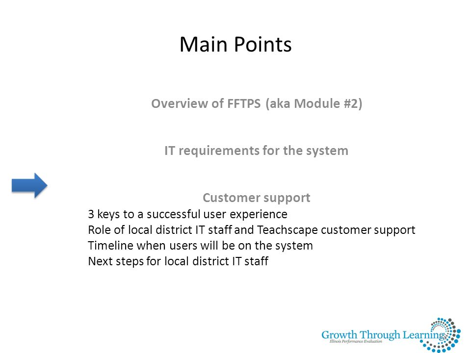Overview of FFTPS (aka Module #2) IT requirements for the system