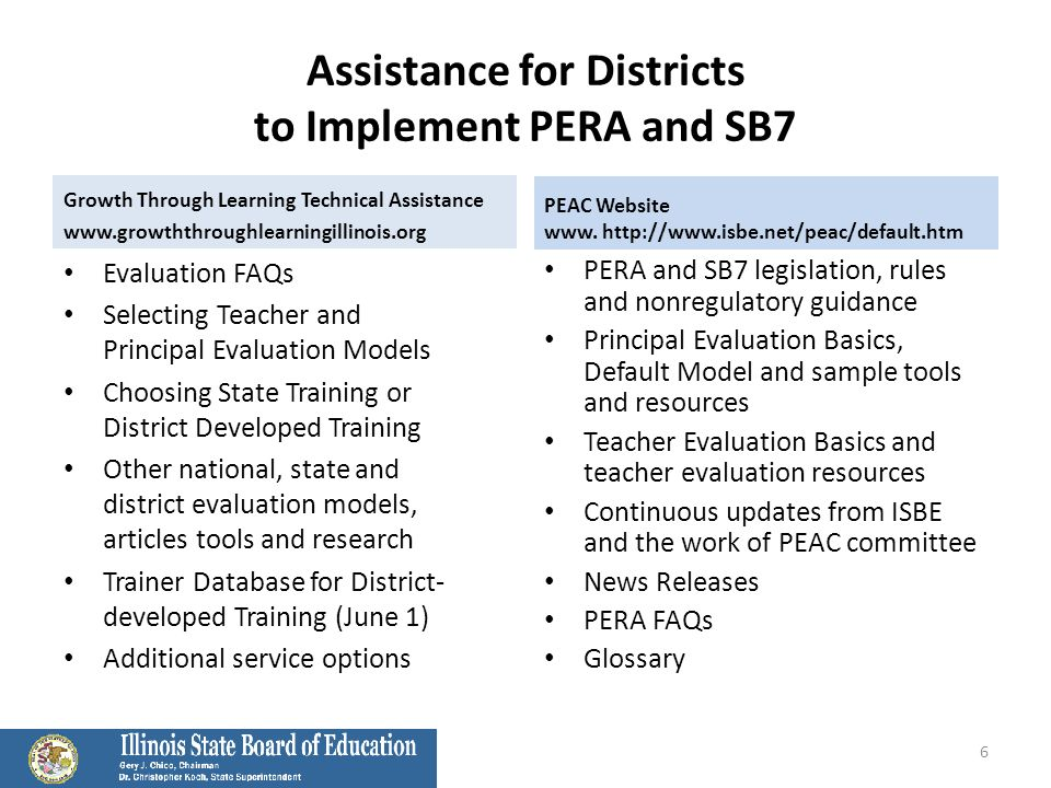 Assistance for Districts to Implement PERA and SB7